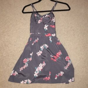 American Eagle Grey Floral Satin Dress XS